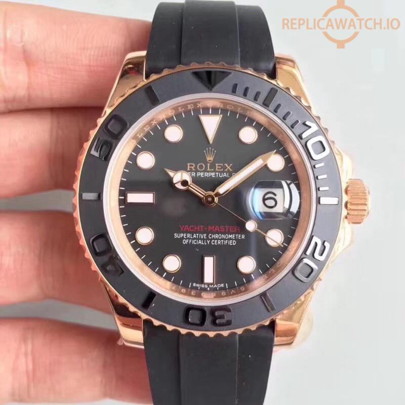 Replica Rolex Yacht,Master 40 116655 AR Rose Gold Black Dial